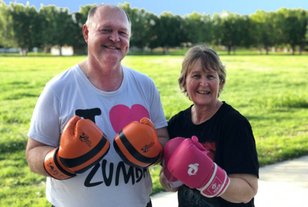 Megan and Robert taking a boxercise class