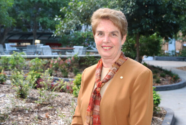 Kaye Basford standing beside a park