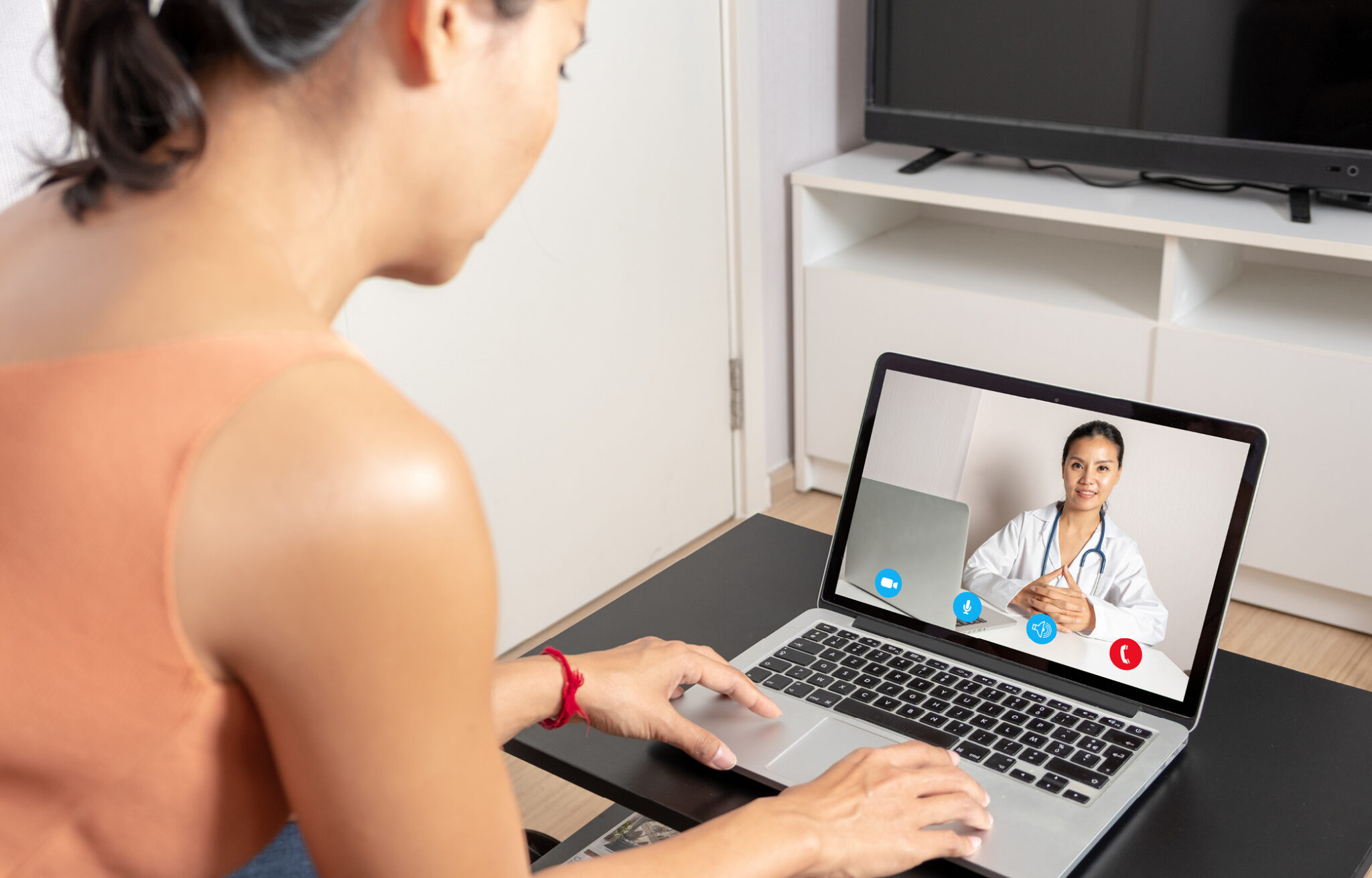Virtual healthcare on a laptop