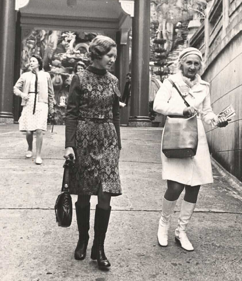 Regina Doig (left) with her mother (right)